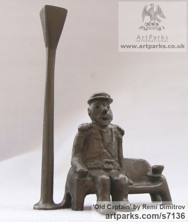 Bronze Male Men Youths Masculine sculpturettes figurines sculpture by sculptor Remi Dimitrov titled: 'Old captain (Seated Old Man and Lamp sculpture)' - Artwork View 2