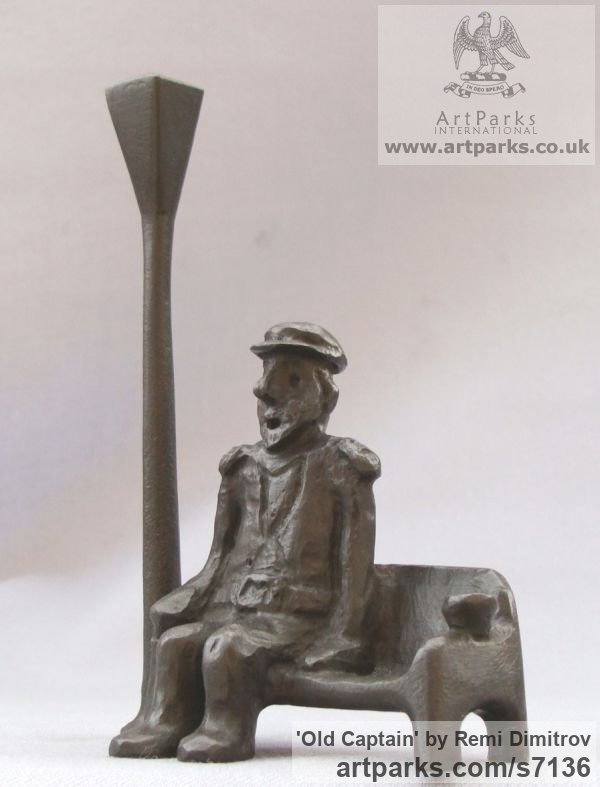 Bronze Male Men Youths Masculine sculpturettes figurines sculpture by sculptor Remi Dimitrov titled: 'Old captain (Seated Old Man and Lamp sculpture)' - Artwork View 3