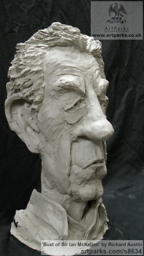 Resin Composite Portrait Sculptures / Commission or Bespoke or Customised sculpture by sculptor Richard Austin titled: 'Bust of Sir Ian McKellen (Caricature Portrait statue)' - Artwork View 2