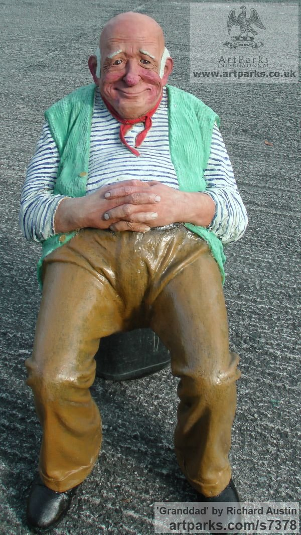 Resin Composite Flamboyant Colourful Exuberant Exotic Gaudy Gorgeous Dedcorative Vivid Brightly Coloured Spectacular sculpture by sculptor Richard Austin titled: 'Granddad (Caricature Portrait Humerous Coloured statue)' - Artwork View 2