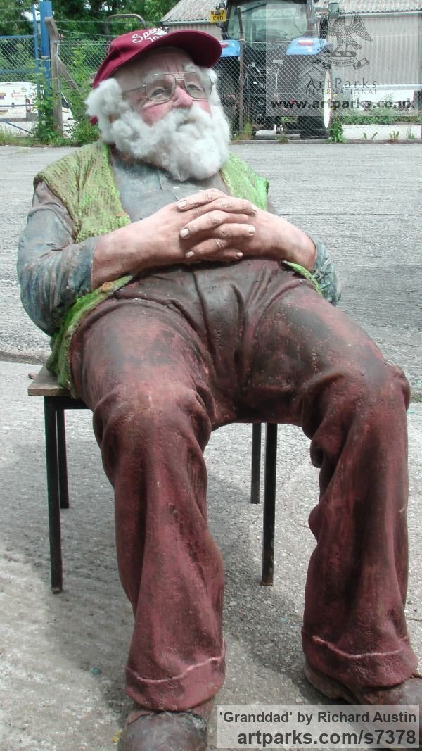 Resin Composite Flamboyant Colourful Exuberant Exotic Gaudy Gorgeous Decorative Vivid Brightly Coloured Spectacular sculpture by sculptor Richard Austin titled: 'Granddad (Caricature Portrait Fun Coloured statue)' - Artwork View 4