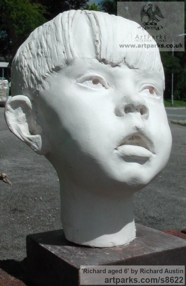 Cast marble Children Child Babies Infants Toddlers Kids sculpture statuettes figurines sculpture by sculptor Richard Austin titled: 'Richard aged 6 (Child Small Portrait sculpture)'