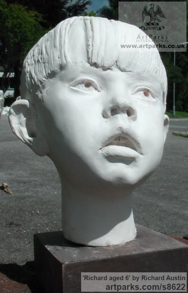 Cast marble Children Child Babies Infants Toddlers Kids sculpture statuettes figurines sculpture by sculptor Richard Austin titled: 'Richard aged 6 (Child Small Portrait sculpture)' - Artwork View 2