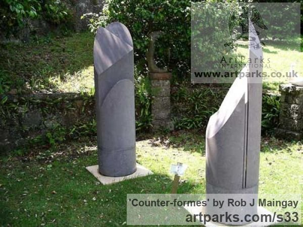 Freestone Garden Or Yard / Outside and Outdoor sculpture by sculptor Rob J Maingay titled: 'Counter-formes (Carved stone Columnar abstract Modern statue/statuary)'