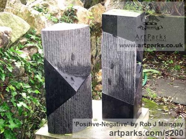 Granite Garden Or Yard / Outside and Outdoor sculpture by sculptor Rob J Maingay titled: 'Positive-Negative (Small Carved Rectangular garden/Yard statues)'