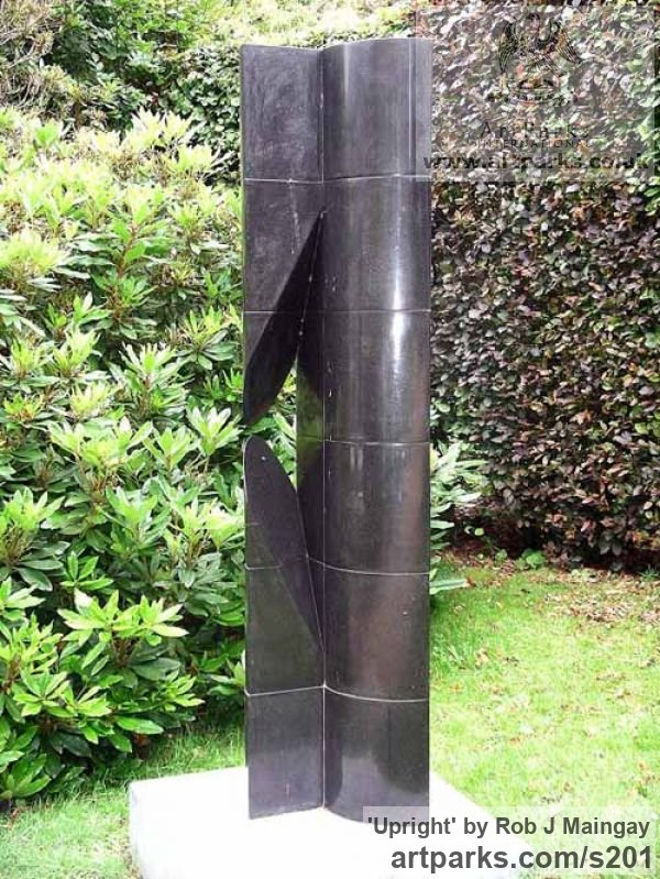 Granite Garden Or Yard / Outside and Outdoor sculpture by sculptor Rob J Maingay titled: 'Upright (Tall Carved Black Granite abstract Modern Columnar sculptures)'