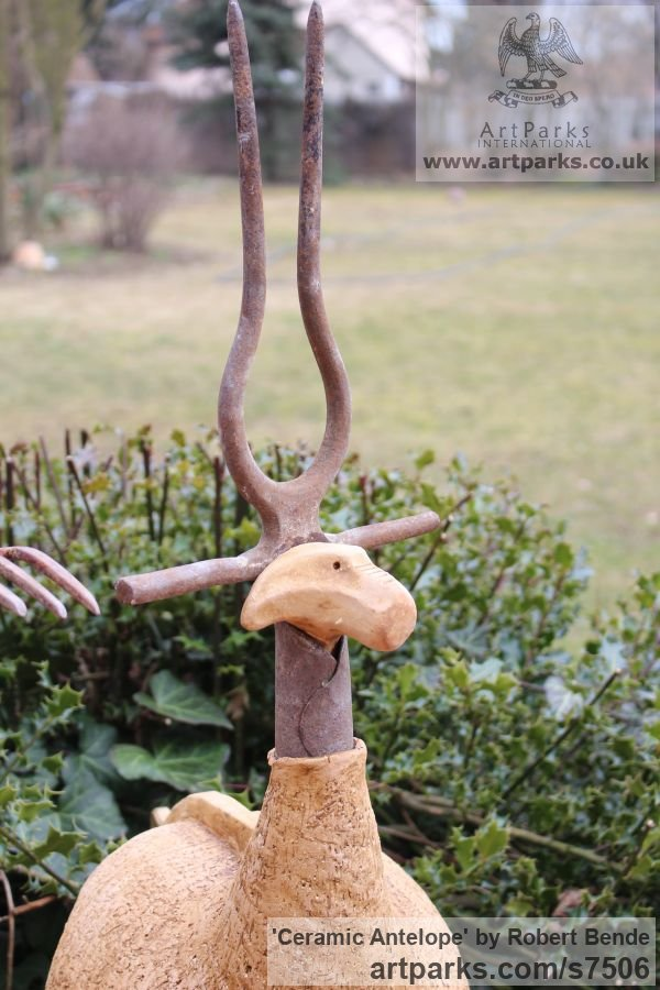 Samott - stoneware clay - 1250 C Garden Or Yard / Outside and Outdoor sculpture by sculptor Bende Róbert titled: 'ceramic Antelope (Amusing Comic Found Object sculpture)' - Artwork View 2