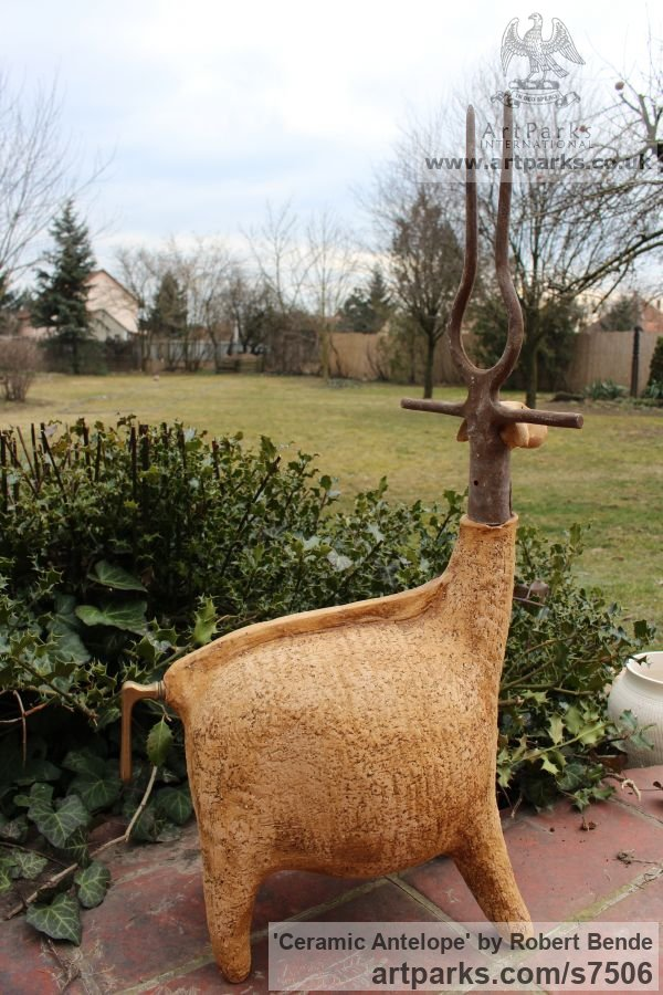 Samott - stoneware clay - 1250 C Garden Or Yard / Outside and Outdoor sculpture by sculptor Bende Róbert titled: 'ceramic Antelope (Amusing Comic Found Object sculpture)' - Artwork View 3