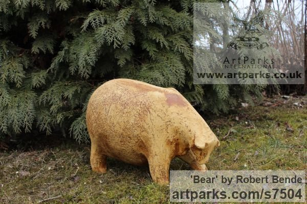 Stoneware Garden Or Yard / Outside and Outdoor sculpture by sculptor Bende Róbert titled: 'Bear (Comic Caricature ceramic Fun Jolly Fat statue)'