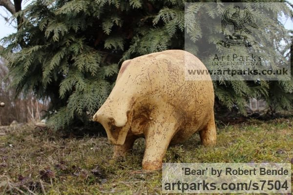 Stoneware Garden Or Yard / Outside and Outdoor sculpture by sculptor Bende Róbert titled: 'Bear (Comic Caricature ceramic Fun Jolly Fat statue)' - Artwork View 2