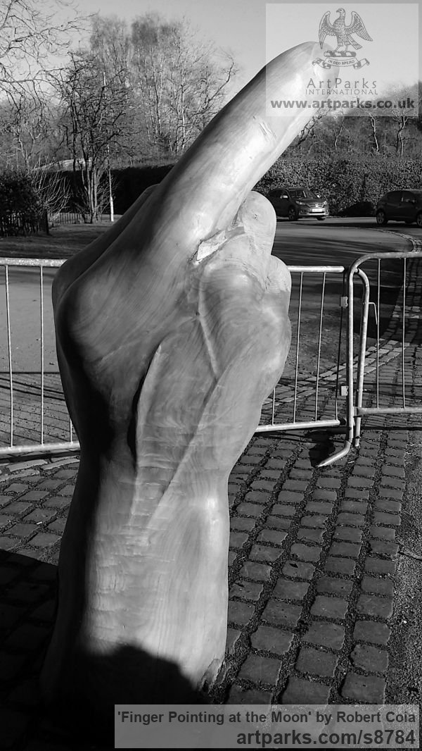 Wood Public Park or Urban Landscape or Corporate sculpture / Fountain / Sratuary sculpture by sculptor Robert Coia titled: 'Finger Pointing at the Moon' - Artwork View 5