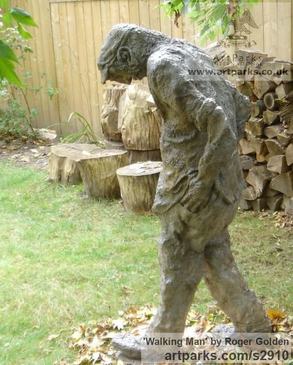 Burlap & Winterstone (cement) Portrait Sculptures / Commission or Bespoke or Customised sculpture by sculptor Roger Golden titled: 'Walking Man' - Artwork View 2