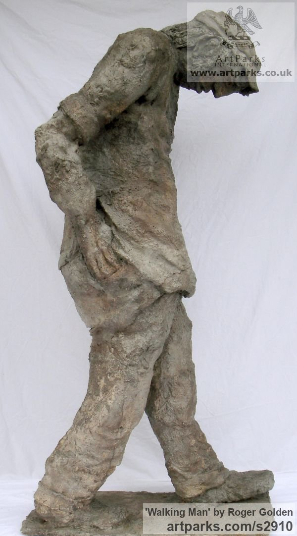 Burlap & Winterstone (cement) Portrait Sculptures / Commission or Bespoke or Customised sculpture by sculptor Roger Golden titled: 'Walking Man' - Artwork View 4