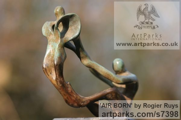 Bronze Garden Or Yard / Outside and Outdoor sculpture by sculptor Rogier Ruys titled: 'AIR BORN (abstract Contemporary figurative Modern Stylised statuette)' - Artwork View 4