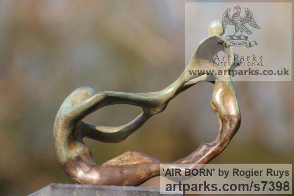Bronze Garden Or Yard / Outside and Outdoor sculpture by sculptor Rogier Ruys titled: 'AIR BORN (abstract Contemporary figurative Modern Stylised statuette)' - Artwork View 5