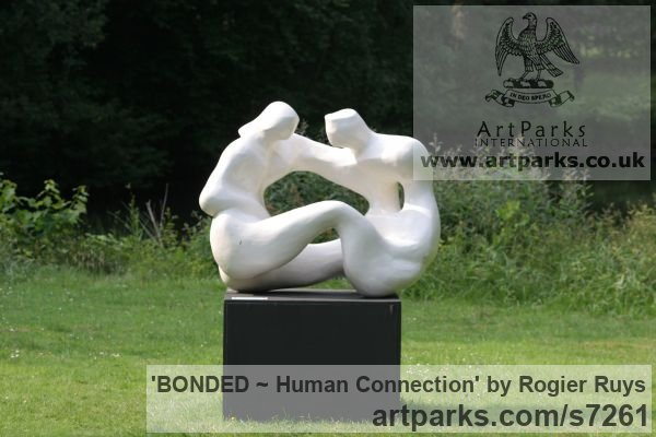Polyester or can be orderd in bronze Garden Or Yard / Outside and Outdoor sculpture by sculptor Rogier Ruys titled: 'BONDED ~ Human Connection (Man and Woman Talking statue Maquette)'