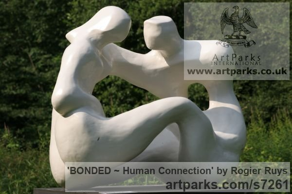 Polyester or can be orderd in bronze Garden Or Yard / Outside and Outdoor sculpture by sculptor Rogier Ruys titled: 'BONDED ~ Human Connection (Man and Woman Talking statue Maquette)' - Artwork View 2