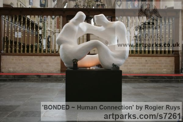 Polyester or can be orderd in bronze Garden Or Yard / Outside and Outdoor sculpture by sculptor Rogier Ruys titled: 'BONDED ~ Human Connection (Man and Woman Talking statue Maquette)' - Artwork View 3