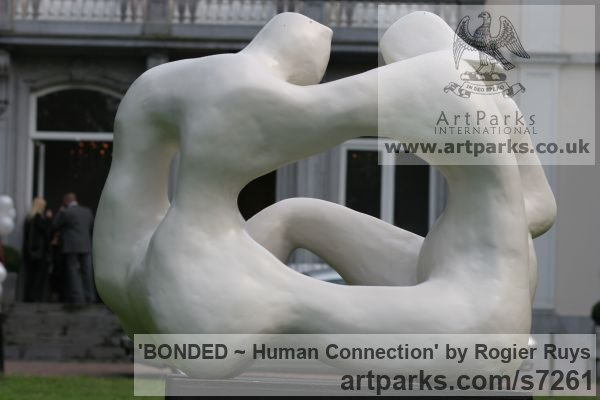 Polyester or can be orderd in bronze Garden Or Yard / Outside and Outdoor sculpture by sculptor Rogier Ruys titled: 'BONDED ~ Human Connection (Man and Woman Talking statue Maquette)' - Artwork View 4