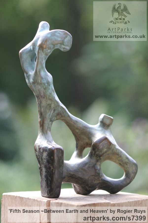 Bronze Garden Or Yard / Outside and Outdoor sculpture by sculptor Rogier Ruys titled: 'Fifth Season ~Between Earth and Heaven (abstract Transition of Soul)' - Artwork View 2