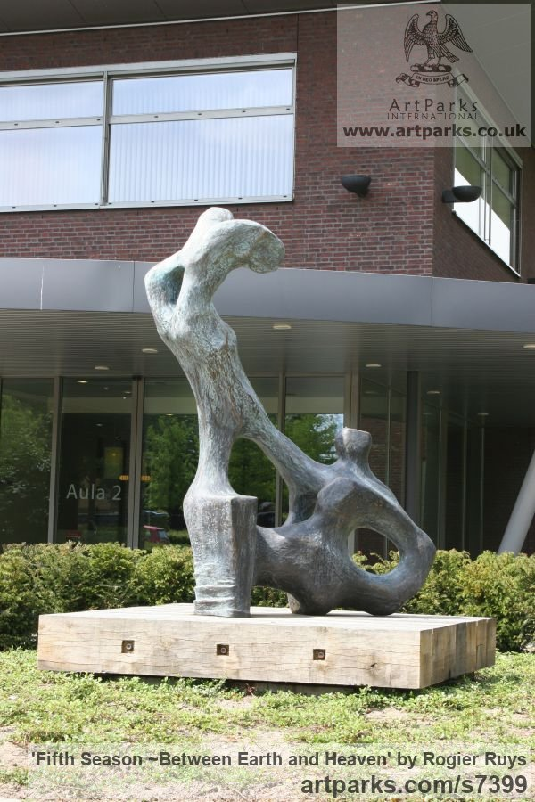 Bronze Garden Or Yard / Outside and Outdoor sculpture by sculptor Rogier Ruys titled: 'Fifth Season ~Between Earth and Heaven (abstract Transition of Soul)' - Artwork View 3