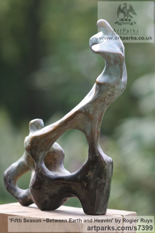 Bronze Garden Or Yard / Outside and Outdoor sculpture by sculptor Rogier Ruys titled: 'Fifth Season ~Between Earth and Heaven (abstract Transition of Soul)' - Artwork View 5
