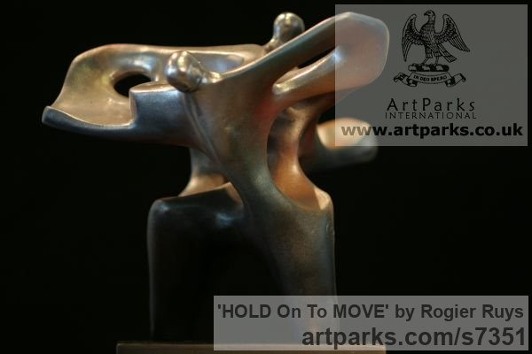 Synthetic material Neolite or bronze Garden Or Yard / Outside and Outdoor sculpture by sculptor Rogier Ruys titled: 'HOLD On To MOVE (Contemporary abstract Modern Stalwart sculpturette)' - Artwork View 2