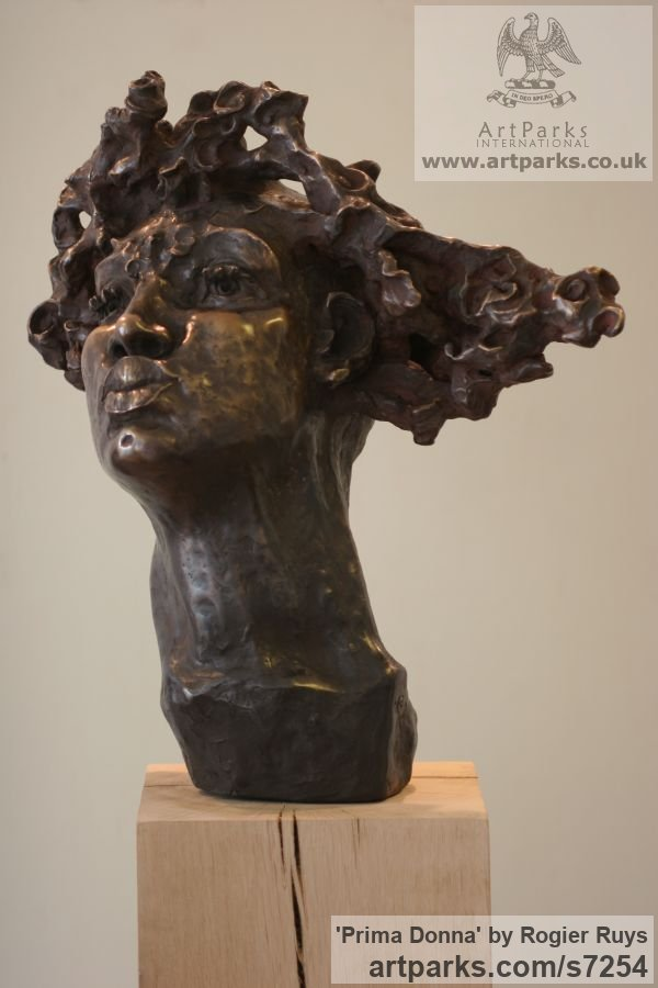 Bronze or a choice of Material Portrait Sculptures / Commission or Bespoke or Customised sculpture by sculptor Rogier Ruys titled: 'PRIMA DONNA (Bronze female Portrait Head Bust sculpture)'