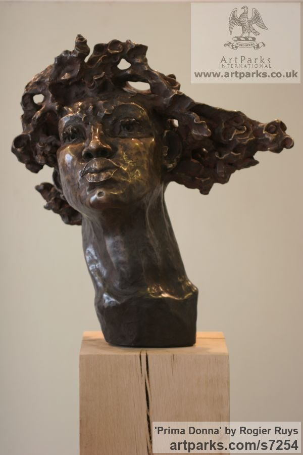 Bronze or a choice of Material Portrait Sculptures / Commission or Bespoke or Customised sculpture by sculptor Rogier Ruys titled: 'PRIMA DONNA (Bronze female Portrait Head Bust sculpture)' - Artwork View 2