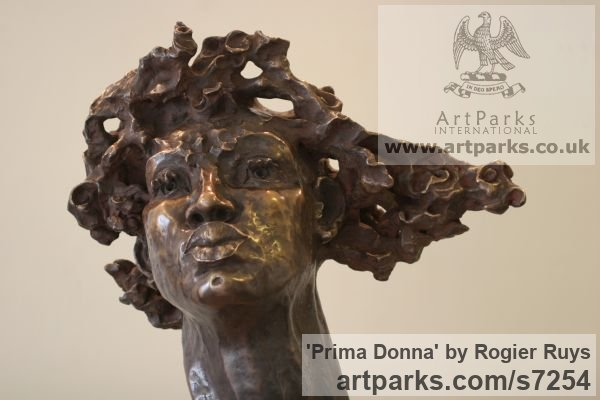 Bronze or a choice of Material Portrait Sculptures / Commission or Bespoke or Customised sculpture by sculptor Rogier Ruys titled: 'PRIMA DONNA (Bronze female Portrait Head Bust sculpture)' - Artwork View 3