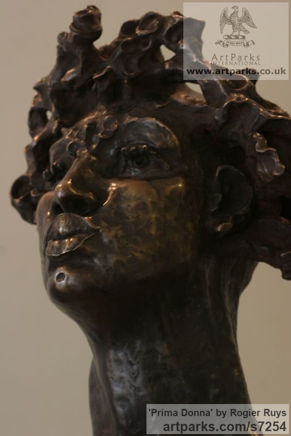 Bronze or a choice of Material Portrait Sculptures / Commission or Bespoke or Customised sculpture by sculptor Rogier Ruys titled: 'PRIMA DONNA (Bronze female Portrait Head Bust sculpture)' - Artwork View 4