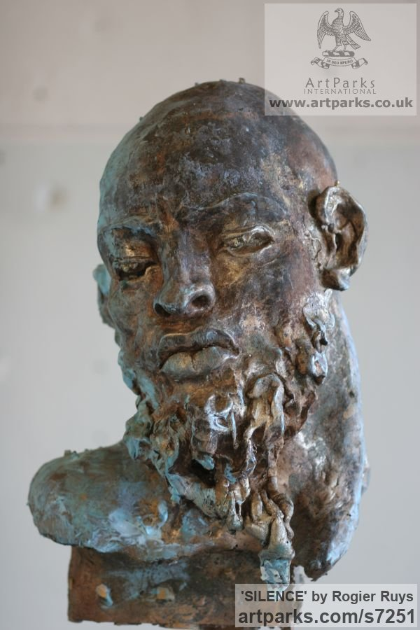 Bronze Portrait Sculptures / Commission or Bespoke or Customised sculpture by sculptor Rogier Ruys titled: 'SILENCE (Commission Customised Head Bust sculpturette)' - Artwork View 1