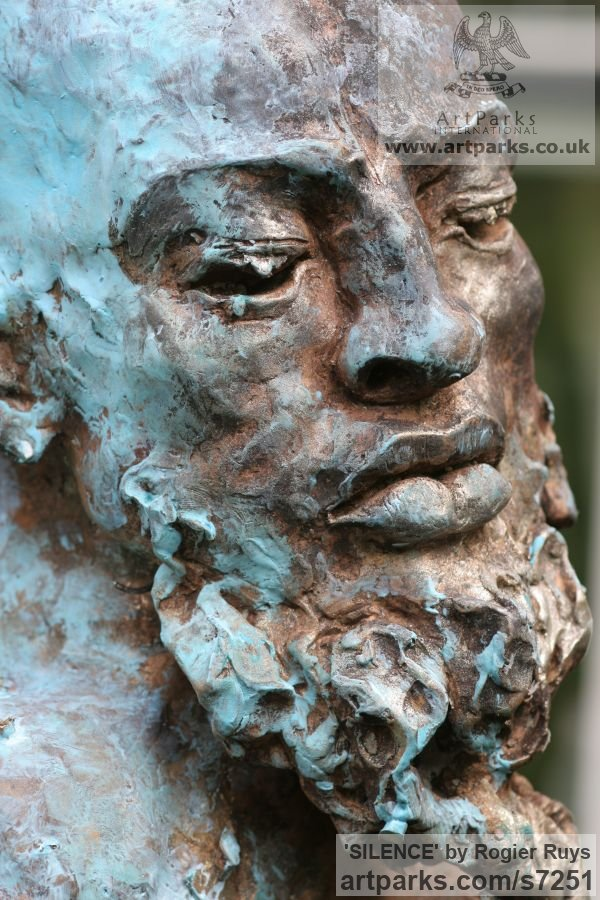 Bronze Portrait Sculptures / Commission or Bespoke or Customised sculpture by sculptor Rogier Ruys titled: 'SILENCE (Commission Customised Head Bust sculpturette)' - Artwork View 3