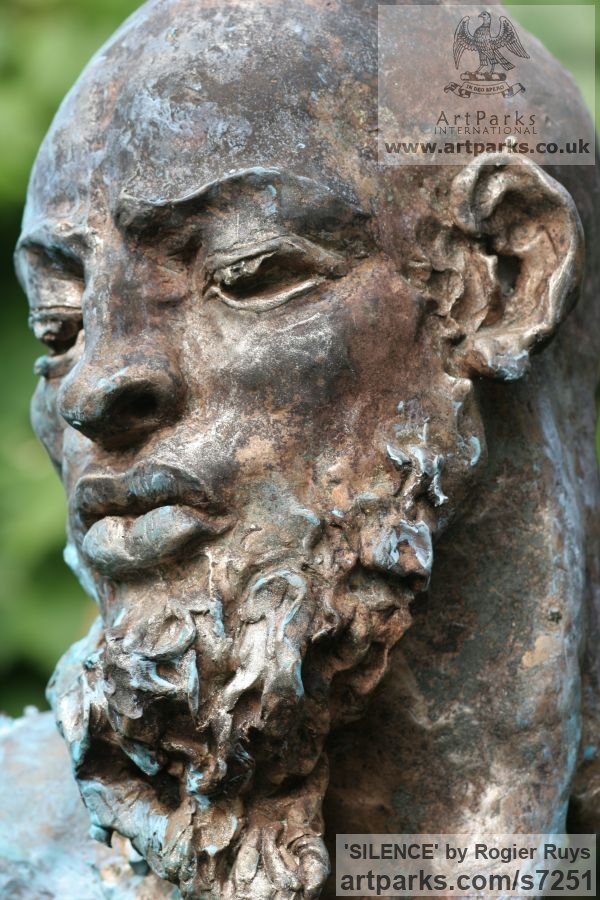 Bronze Portrait Sculptures / Commission or Bespoke or Customised sculpture by sculptor Rogier Ruys titled: 'SILENCE (Commission Customised Head Bust sculpturette)' - Artwork View 4