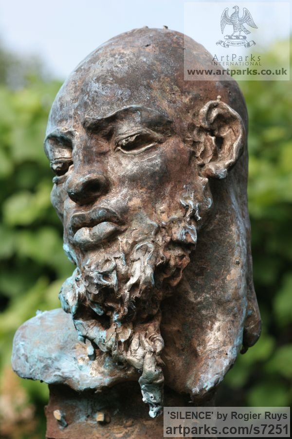 Bronze Portrait Sculptures / Commission or Bespoke or Customised sculpture by sculptor Rogier Ruys titled: 'SILENCE (Commission Customised Head Bust sculpturette)' - Artwork View 5