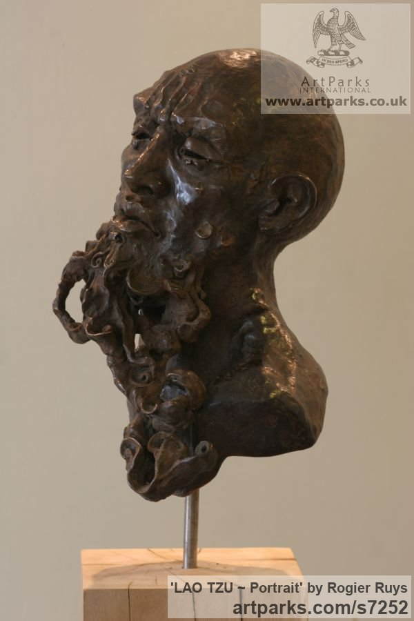 Bronze or a choice of Material Portrait Sculptures / Commission or Bespoke or Customised sculpture by sculptor Rogier Ruys titled: 'LAO TZU ~ Portait (Bronze Portrait Head Bust sculpture statuette)' - Artwork View 2
