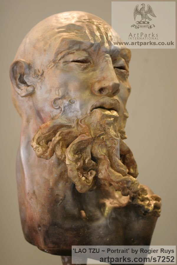 Bronze or a choice of Material Portrait Sculptures / Commission or Bespoke or Customised sculpture by sculptor Rogier Ruys titled: 'LAO TZU ~ Portait (Bronze Portrait Head Bust sculpture statuette)' - Artwork View 4