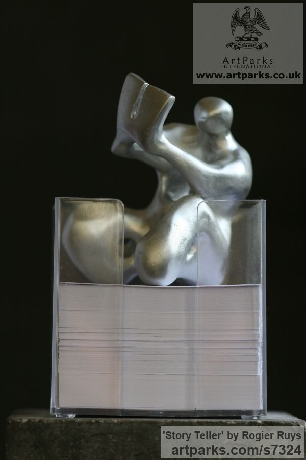 Bronze or a choice of Material Maquette For Larger Monumental Massive Big or Large statue or sculpture by sculptor Rogier Ruys titled: 'STORY TELLER (Little abstract Contemporary Indoor statuette)' - Artwork View 5
