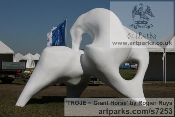 Polyester Abstract Contemporary Modern Outdoor Outside Garden / Yard sculpture statuary sculpture by sculptor Rogier Ruys titled: 'TROJE ~ Giant Horse (abstract Modern Outdoor Public sculpture)'
