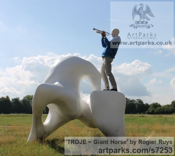 Polyester Abstract Contemporary Modern Outdoor Outside Garden / Yard sculpture statuary sculpture by sculptor Rogier Ruys titled: 'TROJE ~ Giant Horse (abstract Modern Outdoor Public sculpture)' - Artwork View 3