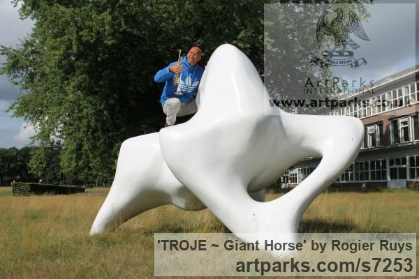 Polyester Abstract Contemporary Modern Outdoor Outside Garden / Yard sculpture statuary sculpture by sculptor Rogier Ruys titled: 'TROJE ~ Giant Horse (abstract Modern Outdoor Public sculpture)' - Artwork View 4