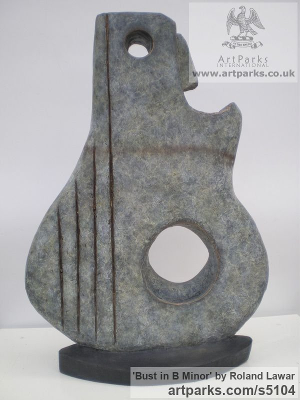 Bronze Abstract Contemporary Modern Outdoor Outside Garden / Yard sculpture statuary sculpture by sculptor Roland Lawar titled: 'Bust in B Minor (Bronze abstract figurative Musical Instrument statue)' - Artwork View 1