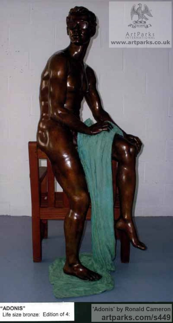 Bronze Garden Or Yard / Outside and Outdoor sculpture by sculptor Ronald Cameron titled: 'Adonis (Handsome Male nude life size Indoor/Outdoor sculpture)'