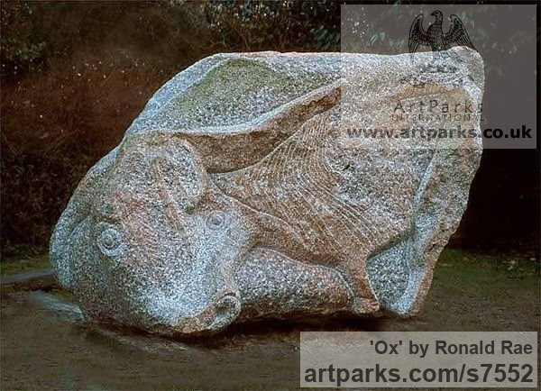 Granite stone Abstract Contemporary or Modern Outdoor Outside Exterior Garden / Yard sculpture statuary sculpture by sculptor Ronald Rae titled: 'Ox (Carved stone Granite abstract Cattle Outdoor statue)' - Artwork View 4