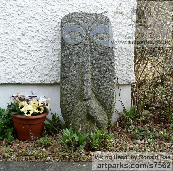 Granite - Russian Blue Garden Or Yard / Outside and Outdoor sculpture by sculptor Ronald Rae titled: 'Viking Head (Primitive Carved stone Norseman Face statue)'