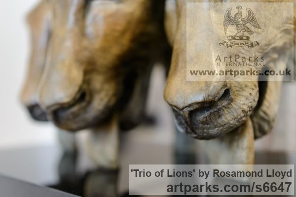 Bronze Cats Wild and Big Cats sculpture by sculptor Rosamond Lloyd titled: 'Trio of Lions (Bronze lionesses Drinking masks/busts/statue/statuette)' - Artwork View 5