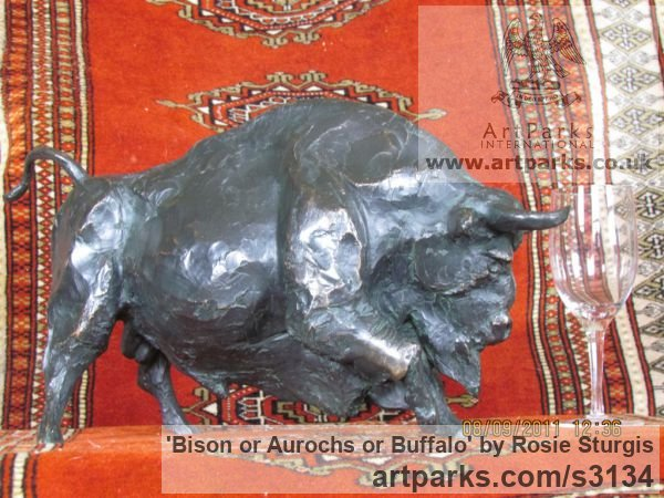 Bronze Wild Animals and Wild Life sculpture by sculptor Rosie Sturgis titled: 'Bison or Aurochs or Buffalo (small sculpture/statue)' - Artwork View 2