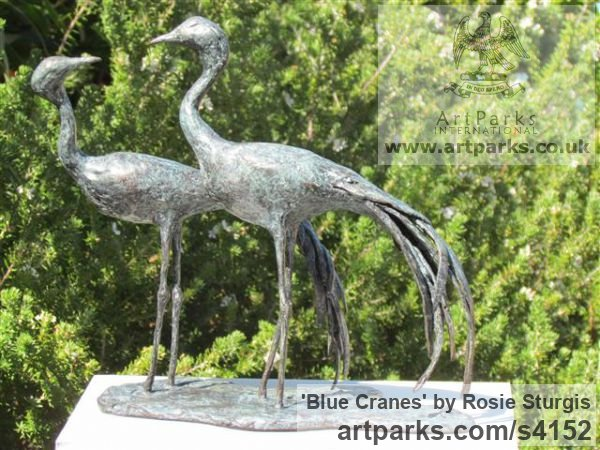 Bronze Flock of Birds sculpture statuette sculpture by sculptor Rosie Sturgis titled: 'Blue Cranes (Wader Birds Indoor sculpture/statues)'