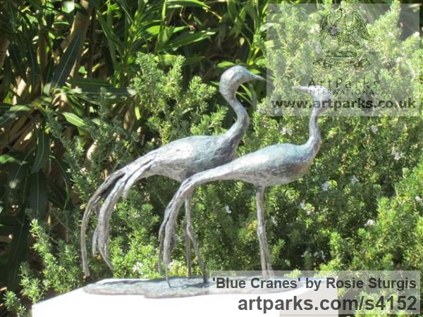 Bronze Flock of Birds sculpture statuette sculpture by sculptor Rosie Sturgis titled: 'Blue Cranes (Wader Birds Indoor sculpture/statues)' - Artwork View 2