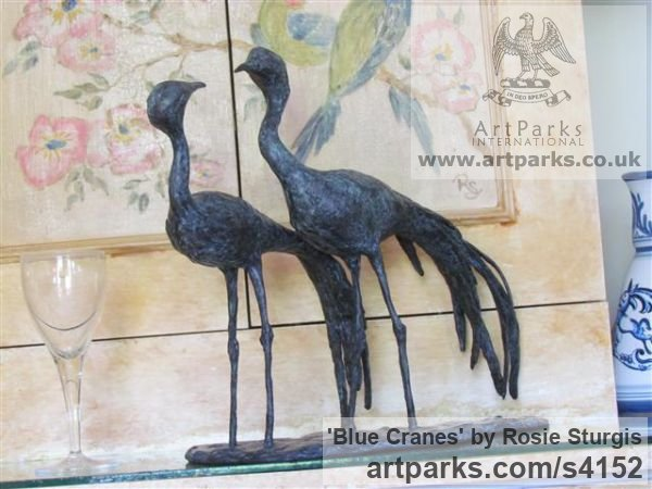 Bronze Flock of Birds sculpture statuette sculpture by sculptor Rosie Sturgis titled: 'Blue Cranes (Wader Birds Indoor sculpture/statues)' - Artwork View 3